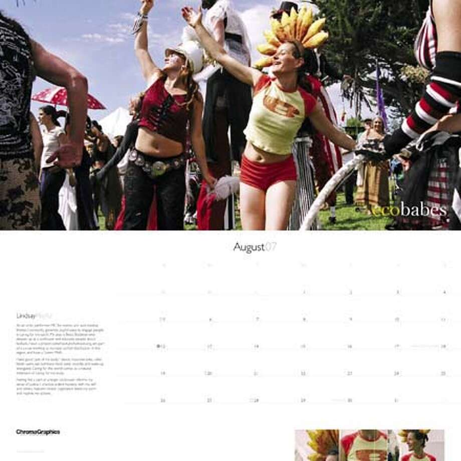 "The new ""ecobabes"" 2007 calendar features women who ""...are on the forefront of sustainable solutions in Northern California."" This is August, which features Lindsey Hassett. Photo: Handout"