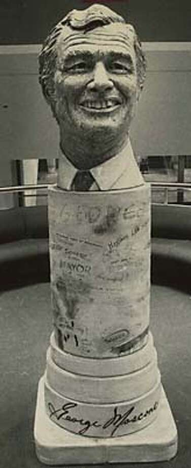 Sculptor Robert Arneson's bust of San Francisco Mayor George Moscone was unveiled at the new Moscone Center in 1981. MANDATORY CREDIT FOR PHOTOG AND SF CHRONICLE/ -MAGS OUT Photo: Michael Maloney