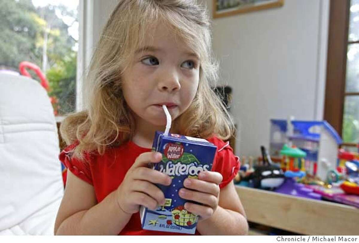 parents26_greenspan_009_mac.jpg Roberta Greenspan's daughter, Megan, 4 with one of the water drinks. Parent entrepreneurs, people who start businesses based on needs they discover while raising their own kids. This photo is of Roberta Greenspan, a former software executive who has started a business producing Wateroos, beverage boxes like juice boxes only filled with water. Greenspan got the idea for the business because she didn't want to give her daughter sweetened juices, but plastic sippy cups kept leaking in her purse. Event in, Hayward, Ca, on 11/17/06. Photo by: Michael Macor/ San Francisco Chronicle Mandatory credit for Photographer and San Francisco Chronicle / Magazines Out