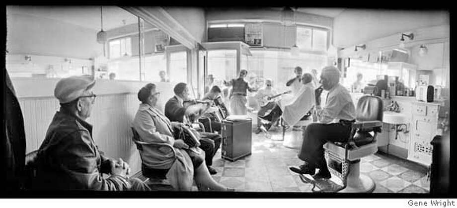 "From the book ""San Francisco Love Affair"" by Gene Wright: ""Powell and Market, early 1960s"" by Gene Wright  North Beach Barber Shop, 1960. Photo: Ho"