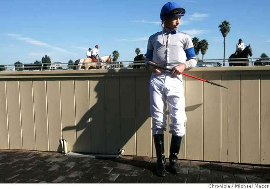 baze_328_mac.jpg . Baze, waits for his horse to arrive at the paddock area. Jockey Russell Baze, racing at Bay Meadows, will become the all-time winningest jockey in U.S. history in the next couple weeks. Event in, San Mateo, Ca, on 11/18/06. Photo by: Michael Macor/ San Francisco Chronicle Mandatory credit for Photographer and San Francisco Chronicle / Magazines Out Photo: Michael Macor
