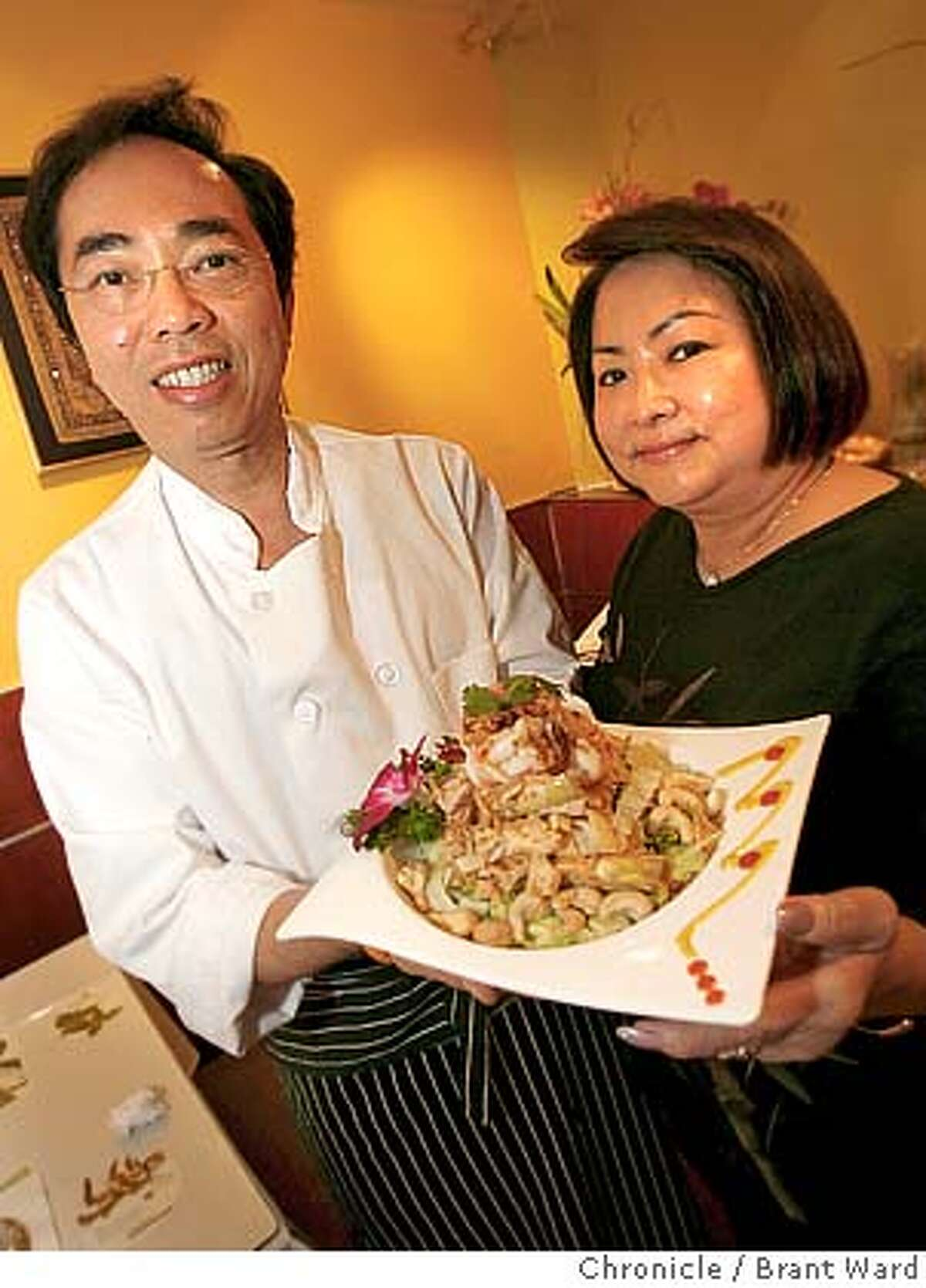 bargain23_marnee123.JPG Chai, left and May Siriyarn of Marnee Thai with their famous artichoke and banana blossom salad. Marnee Thai at 1243 9th Avenue offers quality food at budget prices. {Brant Ward/San Francisco Chronicle}11/8/06
