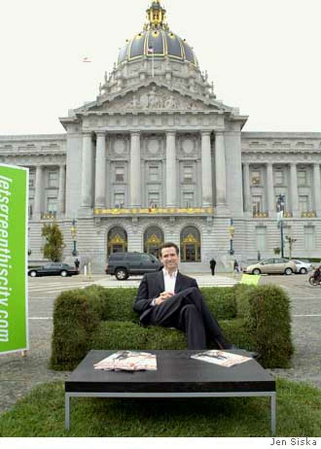 Mayor Gavin Newsom on grass couch at City Hall. PHOTO CREDIT: Jen Siska  Ran on: 11-22-2006  All the lawn the average Californian needs is pictured (at left) under San Francisco Mayor Gavin Newsom, sitting on a grass couch in front of City Hall. The mayor and others posed for souvenir soy-ink-printed photos in recycled cardboard frames on Friday. The one-time art event marked the launch of www.letsgreenthiscity.com by PG&E and ReadyMade magazine. The Web site offers information for eco-groovy home, office and travel practices and suggestions for volunteer work. Photo: Jen Siska