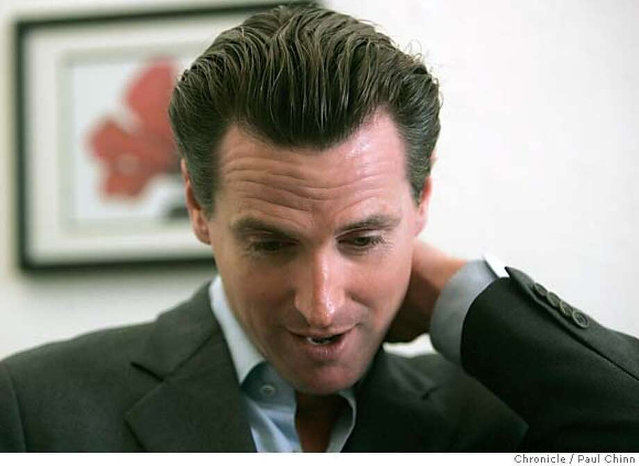 Mayor Gavin Newsom answered questions about the 49ers and the failed Olympic bid during a walking tour in the Tenderloin in San Francisco, Calif. on Wednesday, Nov. 15, 2006. Mayor Newsom was scheduled to have another meeting with 49ers owner John York later in the afternoon.  PAUL CHINN/The Chronicle MANDATORY CREDIT FOR PHOTOGRAPHER AND S.F. CHRONICLE/ - MAGS OUT Photo: PAUL CHINN