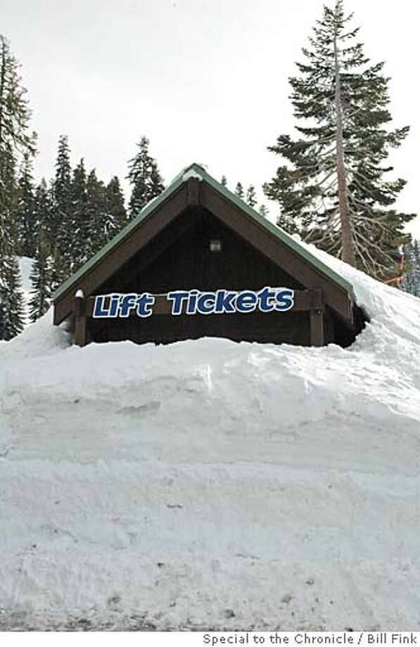 A photo of the Bear Valley lift ticket booth buried under 15 feet of snow.  Photo credit: Bill Fink / Special to The Chronicle. ONE-TIME USE ONLY, SFGATE (IF ALSO IN PRINT) & BULLDOG OK. Photo: Bill Fink