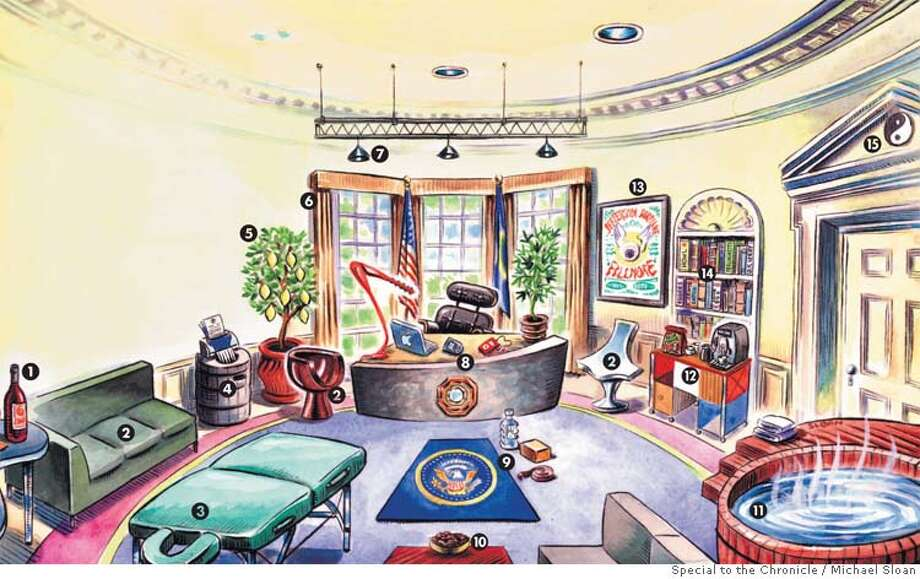 The Oval Office: San Francisco Style. Illustration by Michael Sloan, special to the Chronicle