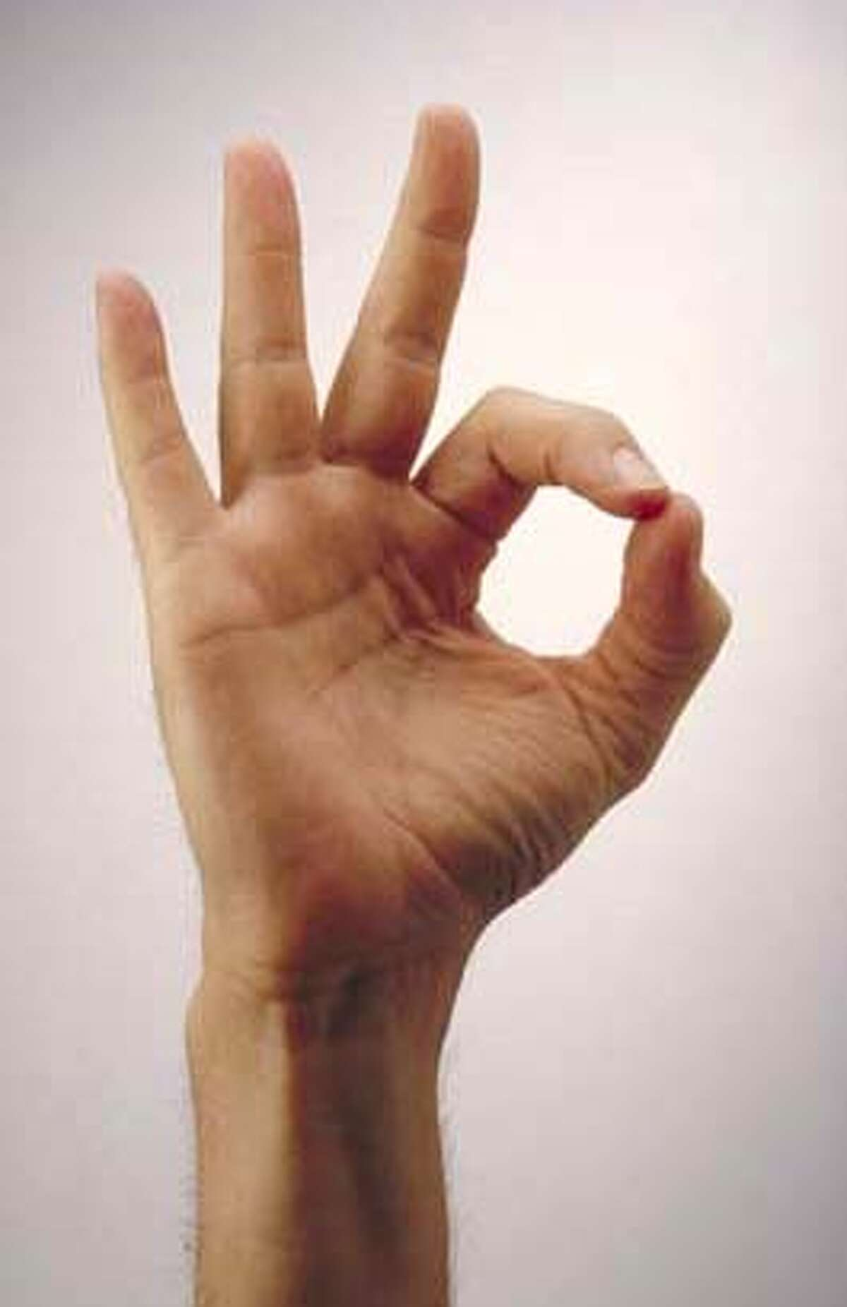 Hand sign proposed to indicate solidarity with Gobal Orgasm for Peace movement,