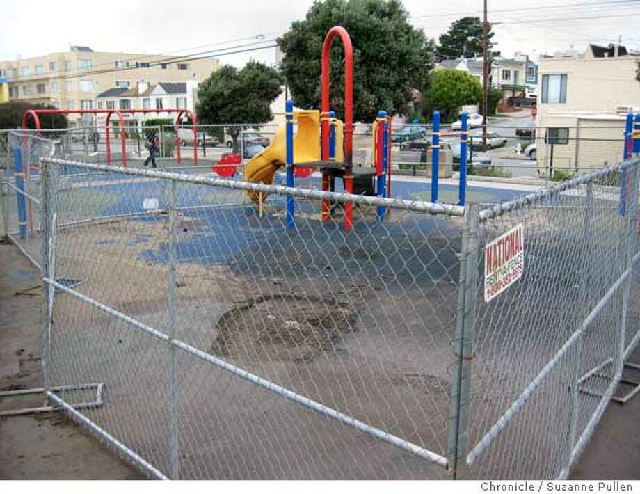 cwsouthsunsetpark02.JPG  A burned out playstructure at South Sunset Park was removed August 2005, but the area has been fenced off since then with no repairs being done. San Francisco. Suzanne Pullen / The Chronicle  Ran on: 11-19-2006  4-29-06, Day 98: After arson destroyed a play structure at the busy South Sunset Playground in August 2005, park officials fenced it off saying they had no money to replace it. Tipster Suzie Larsen (right) helped organize a $40,000 community fundraising effort that included children (in photo) from Ark Christian Preschool who raised $5,000 in a hop-a-thon. Supervisor Fiona Ma secured matching funds from the city. Three months after the story appeared in ChronicleWatch, the $80,000 project was completed. &quo;The kids in the neighborhood are so happy to have their playground back and they played a huge part in raising the money,&quo; Larsen said. &quo;It has been a very rewarding experience.&quo;  Ran on: 11-19-2006 Photo: Suzanne Pullen