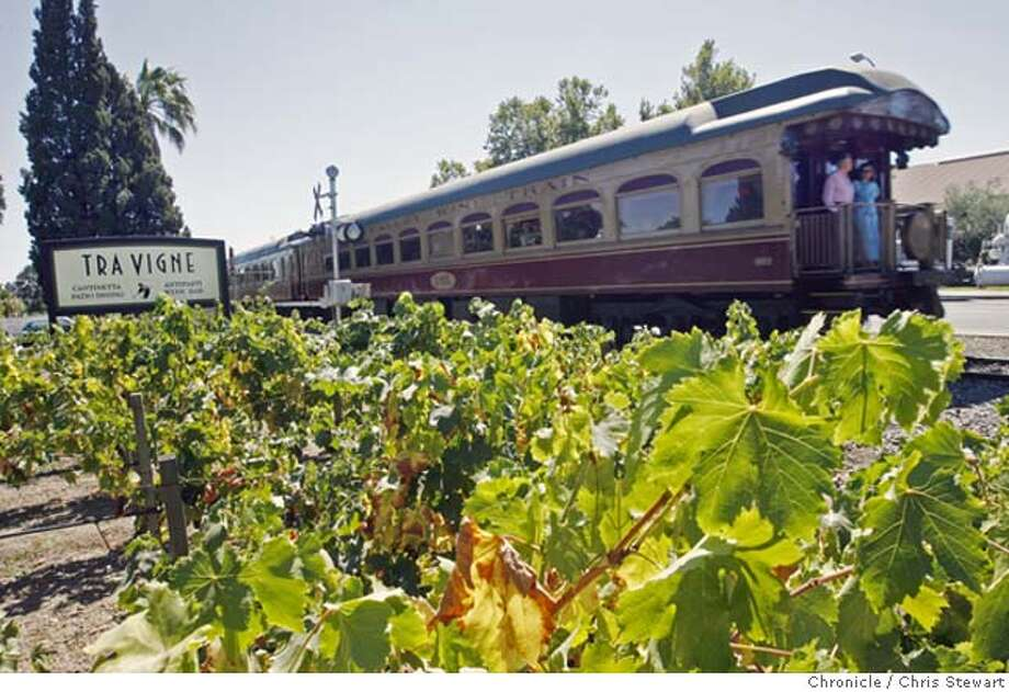 streetdate14_057_cs.jpg Event on 9/5/06 in St. Helena. 96 Hours street date for Main St., St. Helena. The Napa Valley Wine Train cruises past Ristorante Tra Vigne, 1050 Charter Oak Avenue at Main Street. (707) 963-4444, www.travignerestaurant.com. Chris Stewart / The Chronicle St. Helena, 96 Hours, Tra Vigne, Merryvale Vineyards, Steves Hardware, Vanderbilt and Company Ran on: 11-19-2006  The Napa Valley Wine Train will serve Thanksgiving dinner during a 3�-hour trip. Photo: Chris Stewart