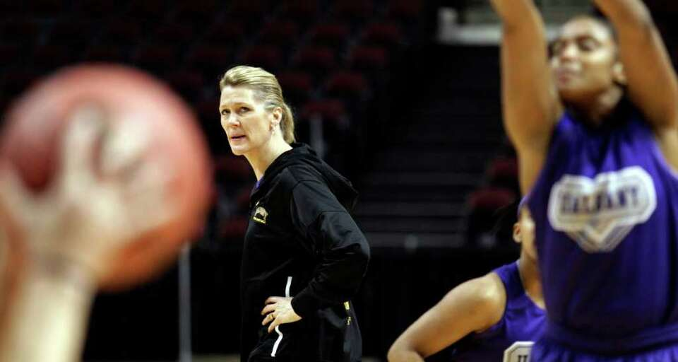 Albany women's basketball coach Katie Abrahamson-Henderson watches her team during basketball practi
