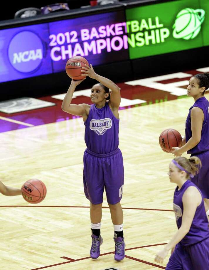Albany's Cassandra Callaway (1) shoots during basketball practice in College Station, Texas, Friday, March 16, 2012. Albany plays Texas A&M in an NCAA tournament first-round women's college basketball game on Saturday. (AP Photo/David J. Phillip) Photo: David J. Phillip