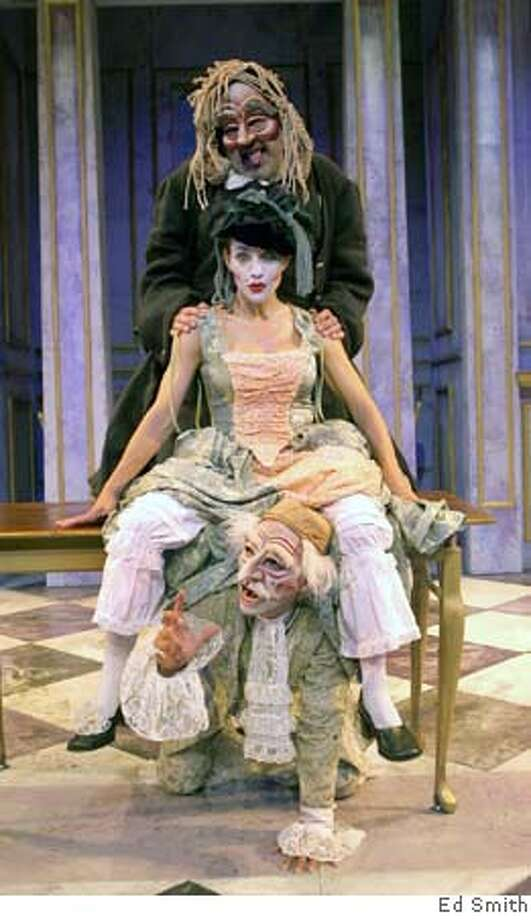 Pictured (from top to bottom): Tartuffe (Michael Fields), Elmire (Deborah Taylor Barrera) and Orgon (Adrian Mejia). Photo by Ed Smith Photo: Ed Smith