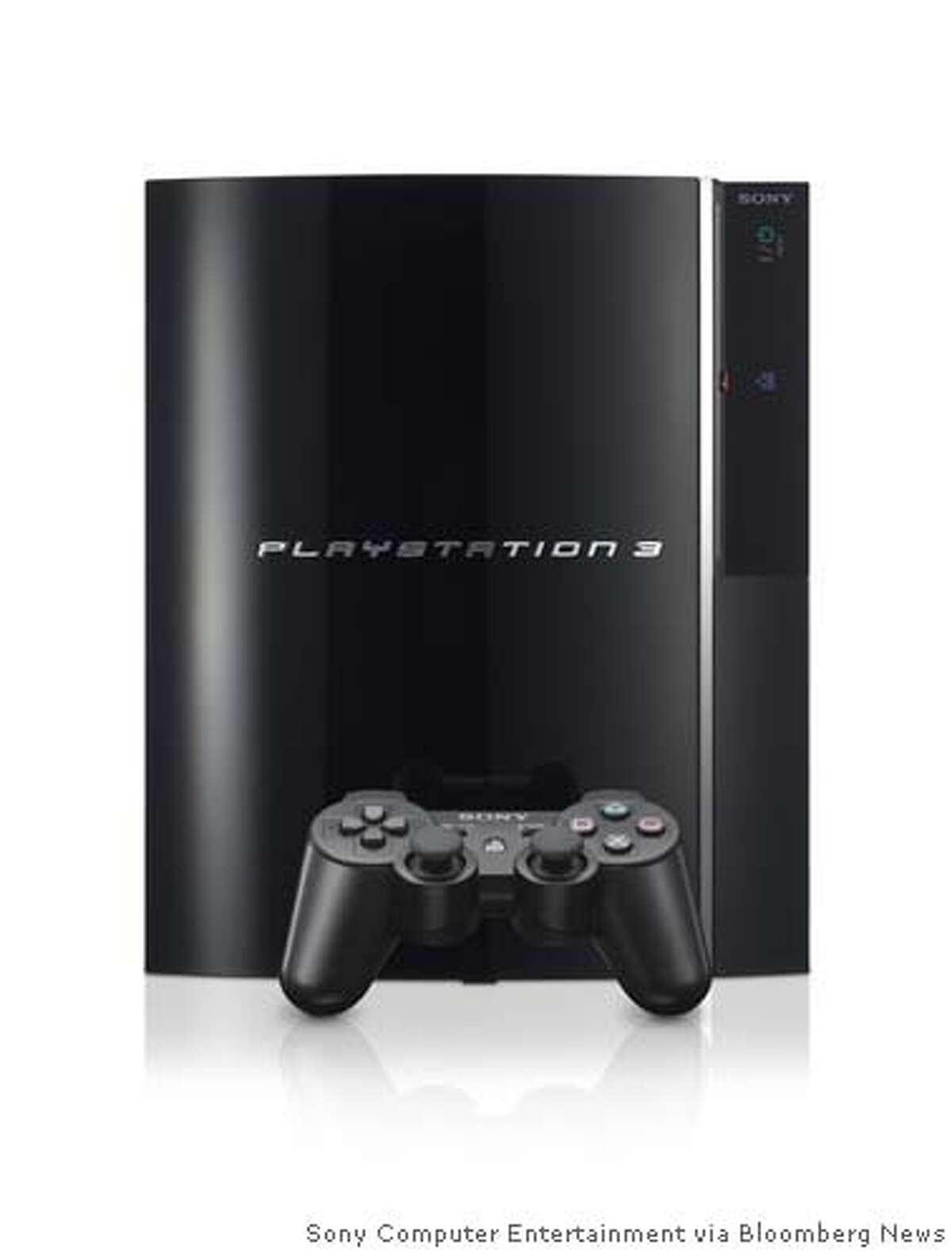 PlayStation 3, Sony's newest electronic game console, is pictured in this undated company handout photo. Sony Corp., the world's largest maker of video-game players, will begin selling the PlayStation 3 on November 17 in the U.S. and said it will cost at least $100 more than Microsoft Corp.'s Xbox 360. Source: Sony Computer Entertainment via Bloomberg News.