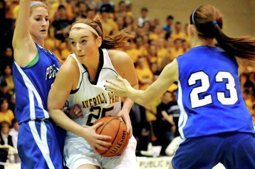 Averill Park's Brooke O'Shea (25), center, gets double teamed from Pearl River's Marissa Scognamigli