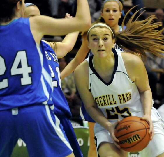 Averill Park's Brooke O'Shea (25), right, works the paint as Pearl River's Christa Scognamiglio (24)