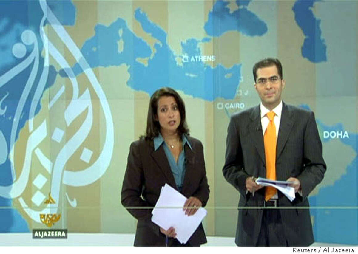 Shiulie Ghosh (L) and Sami Zeidan present the first programme on the Al Jazeera English-speaking television channel broadcast from Doha, November 15, 2006. The Arabic television station launched its English-speaking channel on Wednesday. EDITORIAL USE ONLY NOT FOR SALE FOR MARKETING OR ADVERTISING CAMPAIGNS NO ARCHIVES REUTERS/Al Jazeera via Reuters Television (QATAR) Ran on: 11-16-2006 Shiulie Ghosh and Sami Zeidan (right) present the first program on Al-Jazeera English, which debuted Wednesday. Ran on: 11-16-2006 Shiulie Ghosh and Sami Zeidan (right) present the first program on Al-Jazeera English, which premiered Wednesday.