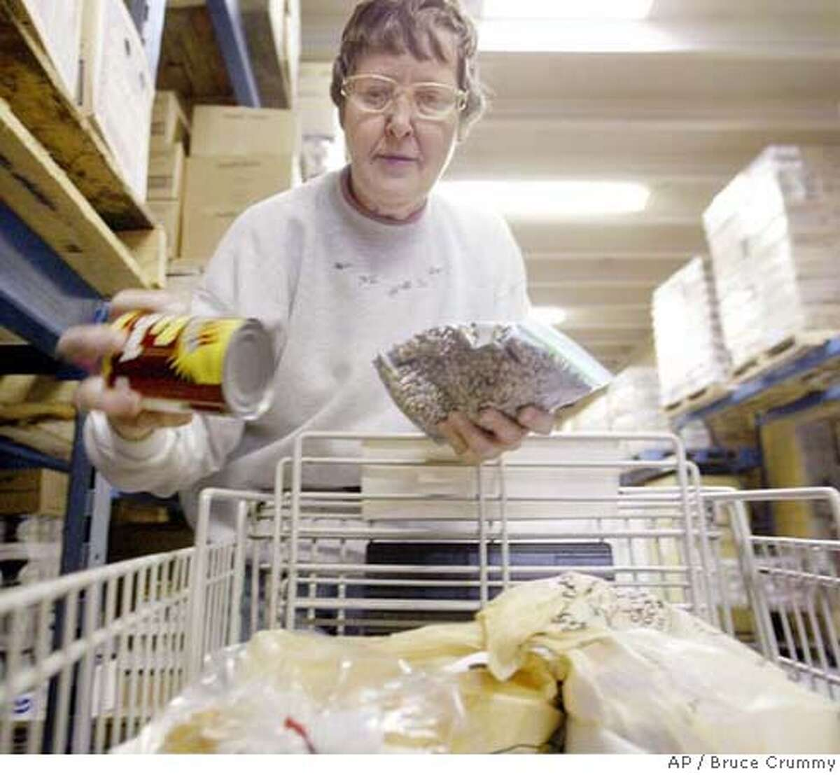 Janice Alm of Moorhead, Minn., an Emergency Food Pantry volunteer for ten years, stocks a cart with an order at the pantry's warehouse Oct. 20, 2006, in north Fargo, N.D. Volunteers at the pantry have found their supplies dwindling as the demand increases. This time of year, the shelves are mainly filled with leftover commodities sent by the federal Agriculture Department. (AP Photo/The Forum, Bruce Crummy) AN OCT. 10, 2006, PHOTO
