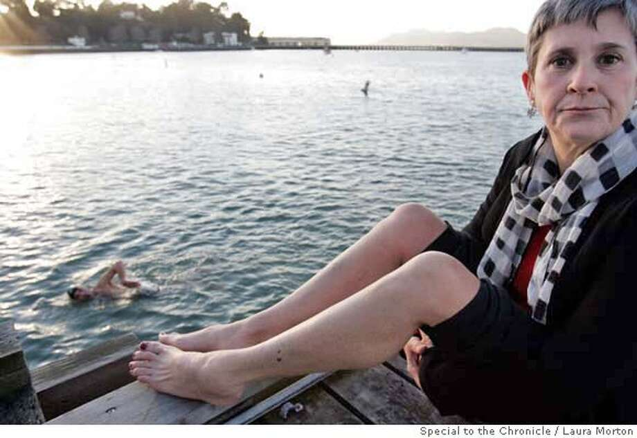 Celeste McMullin was wounded on both her legs when a Sea Lion bit her several times on Monday as she was swimming in the San Francisco Aquatic Park. McMullin is an Oakland resident, but swims regularly in the park as part of the Dolphin Club of San Francisco. Photo: Laura Morton