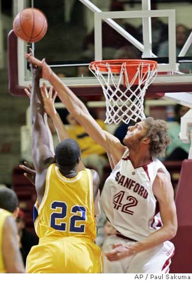 Stanford center Robin Lopez (42) blocks the shot of San Jose State foward Harry Brown (22) in the first half of the CBE basketball Classic, Tuesday, Nov. 14, 2006, in Stanford, Calif. (AP Photo/Paul Sakuma) Photo: PAUL SAKUMA