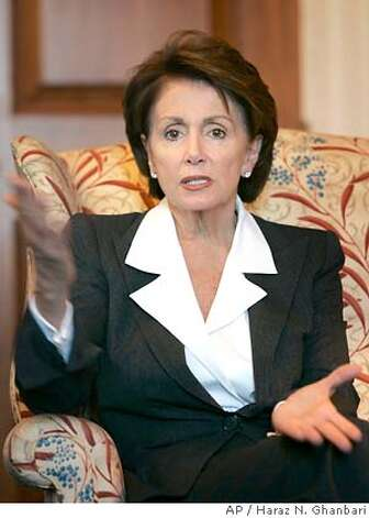 Democratic House Leader Nancy Pelosi of Calif. meets reporters on Capitol Hill in Washington, Thursday, Nov. 9, 2006. (AP Photo/Haraz N. Ghanbari) Photo: HARAZ N. GHANBARI