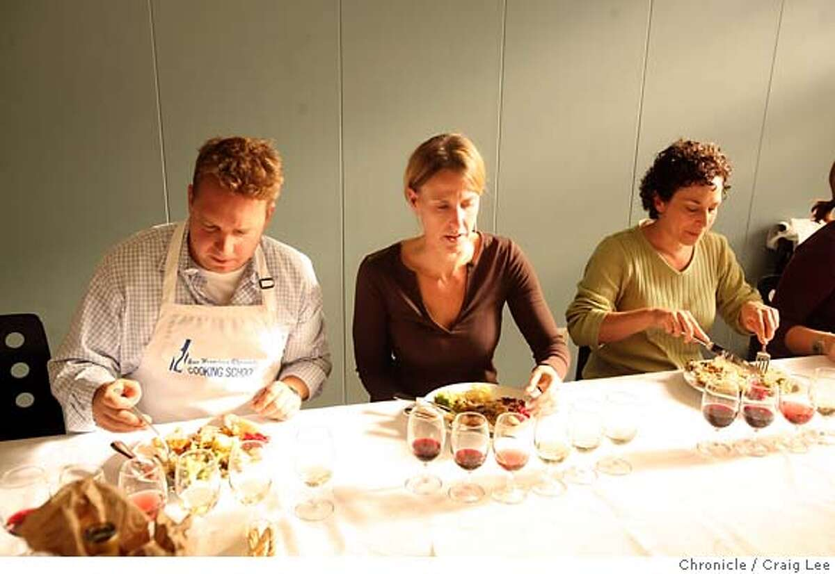 TURKEYCAMP15_608_cl.JPG Turkey training camp at the San Francisco Chronicle Food kitchen. Olivia Wu and Tara Duggan teach five people how to make a Thanksgiving dinner. Photo of left-right: Chris Hawkins, Stephannie Haver (her first name has two N's), and Annmarie Cannarozzo. They are enjoying the food they just created. photo by Craig Lee / The Chronicle MANDATORY CREDIT FOR PHOTOG AND SF CHRONICLE/ -MAGS OUT