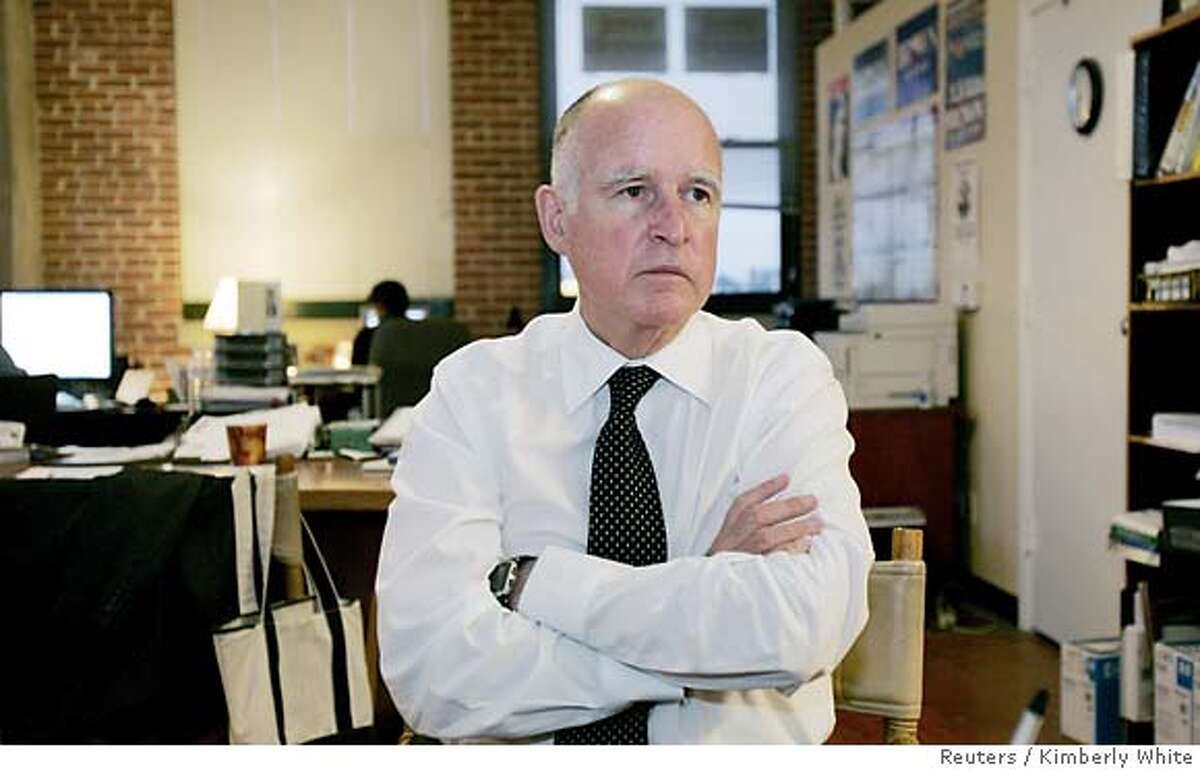 Oakland Mayor Jerry Brown sits in his campaign office in Oakland, California October 12, 2006. Brown, nicknamed California's