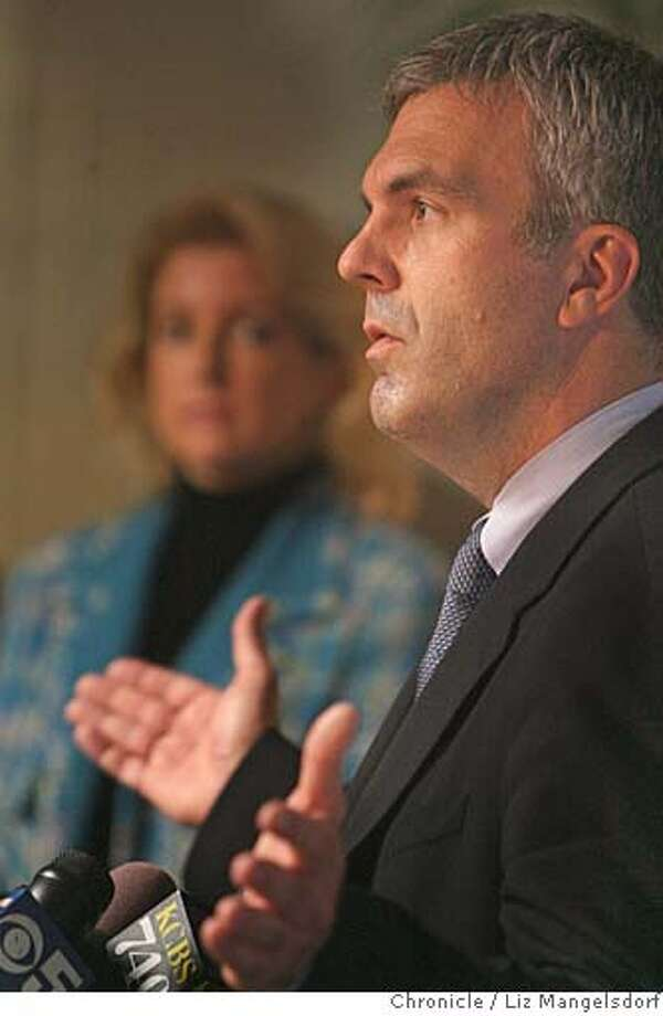 Scott Givens, Managing Director and CEO of the San Francisco 2016 Bid Committee, announced today that the committee is withdrawing its bid to host the 2016 Olympics in San Francisco. This announcement was made in the offices of Accenture in downtown San Francisco San Francisco 2016 on Nov. 13, 2006. Jaime Rupert, Director of Communications for the committee is in the background.  Liz Mangelsdorf / The Chronicle Photo: Liz Mangelsdorf