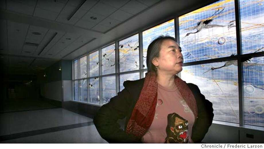 Bay Area artist Hung Liu has created a big glass mural for the new terminal at Oakland INternational Airport. 11/2/06  {Photographed by Frederic Larson} MANDATORY CREDIT FOR PHOTOGRAPHER AND SAN FRANCISCO CHRONICLE/ -MAGS OUT Photo: Frederic Larson
