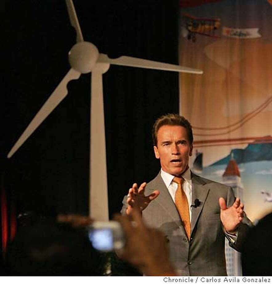 GOV-MEXICO11_012_CAG.JPG  California Governor Arnold Schwarzenegger speaks at the California Clean Trade Expo in Monterrey, Nuevo Leon, Mex., on Friday, November 10, 2006. The governor is touring Mexico on a trade summit that will include agricultural benefits to both California and Mexico. The governor will also visit the California Cleantech Trade Expo in Monterrey. Photo by Carlos Avila Gonzalez/The San Francisco Chronicle  Photo taken on 11/10/06, in Monterrey, Nuevo Leon, Mex  **All names cq (source) MANDATORY CREDIT FOR PHOTOG AND SAN FRANCISCO CHRONICLE/ -MAGS OUT Photo: Carlos Avila Gonzalez