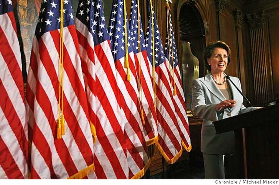 pelosiDC_001_mac.jpg Democratic Leader, Nancy Pelosi holds her first press conference the day after the Democrats win the majority in the House of Representatives. Event in, Washington, DC, on 11/8/06. Photo by: Michael Macor/ San Francisco Chronicle Mandatory credit for Photographer and San Francisco Chronicle / Magazines Out Photo: Michael Macor