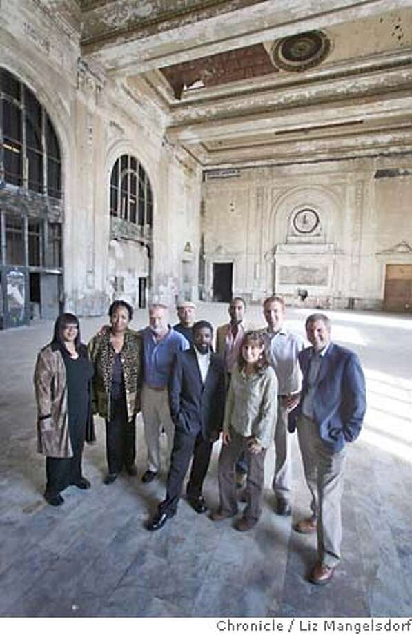 centralstation081_lm.JPG  West Oakland Residents, and project developers, inside the old historic 16th Street Train Station in Oakland on Nov. 6, 2006. The train station is part of the new 29-acre development under way in West Oakland. From left are residents Ann Pringle, Janet Patterson, Bruce Beasley, Marcus Johnson (in back with hat), Marcel Diallo (in suit center), and developers Andre�(accent over e) Farris (back, tan jacket), Nancy Holliday, Kevin Brown and Rick Holliday (far right).  ***All names CQ MANDATORY CREDIT FOR PHOTOG AND SF CHRONICLE/ -MAGS OUT Photo: Liz Mangelsdorf