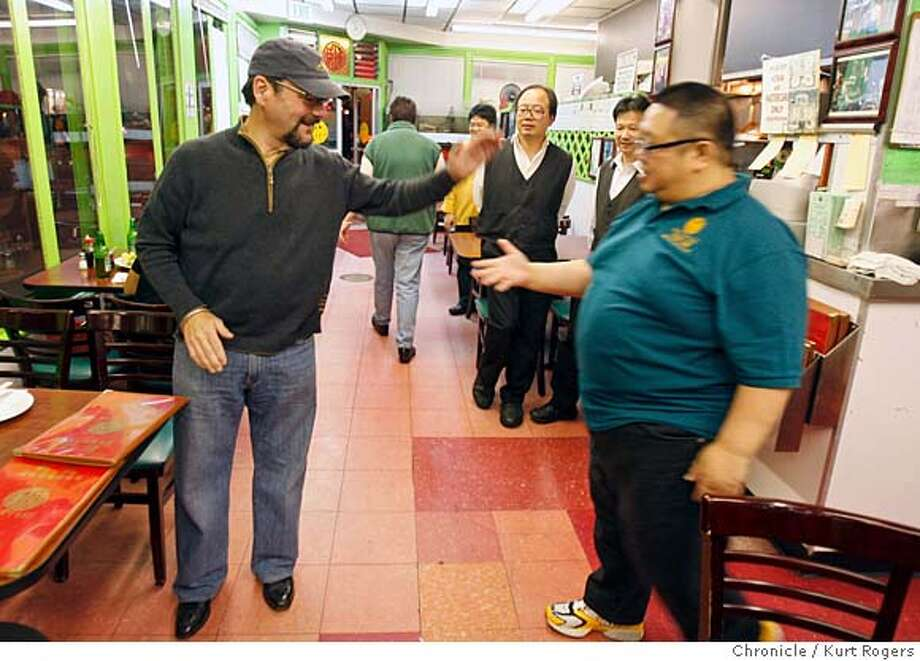 Jan Birnbaum left is greated by the owner of Yuet Lee restaurant Tim Yu  Jan Birnbaum having dinner at Yuet Lee KURT ROGERS/THE CHRONICLE SAN FRANCISCO THE CHRONICLE  SFC .jpg MANDATORY CREDIT FOR PHOTOG AND SF CHRONICLE / -MAGS OUT Photo: KURT ROGERS/THE CHRONICLE