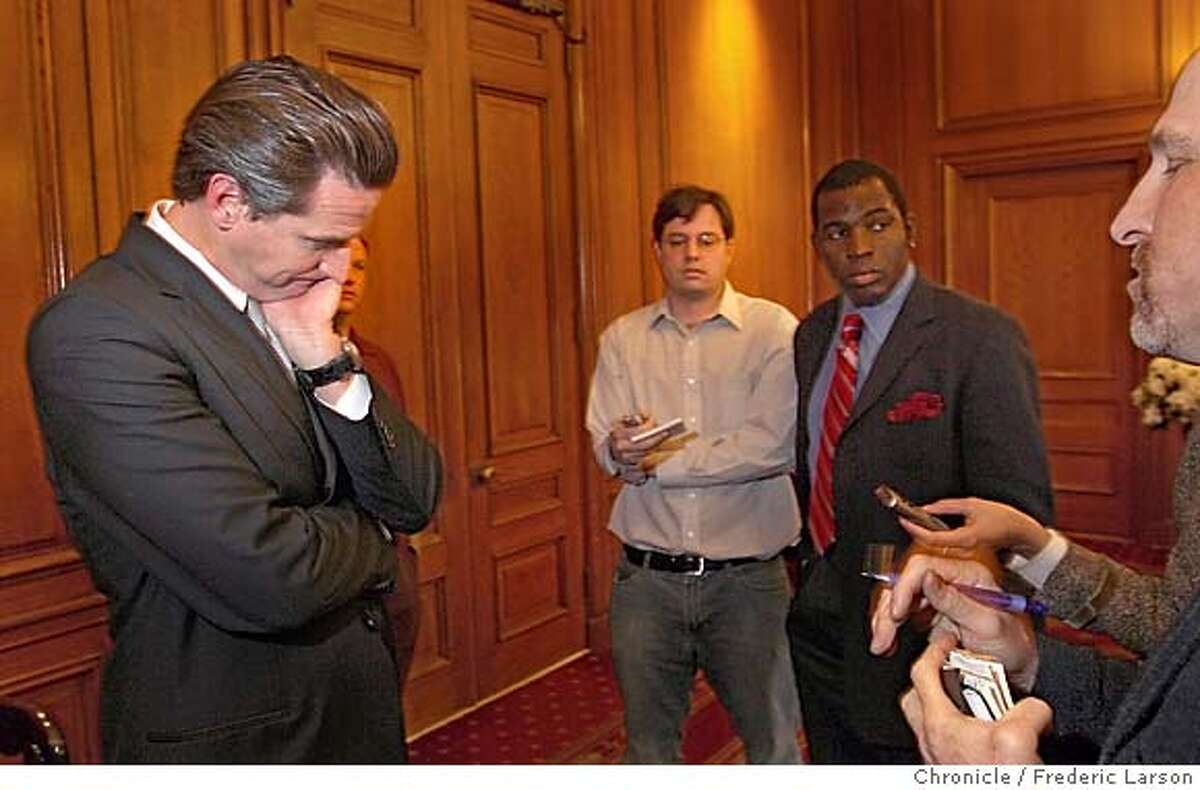 """San Francisco Mayor Gavin Newsom talks to the press at his office in City Hall about the fate about the SF 49ers moving out of the city to Santa Clara. One day after the San Francisco 49ers announced they were looking to move to Santa Clara, co-owner John York and Mayor Gavin Newsom said today that talks to keep the team in San Francisco """"were not closed"""" and that the two sides had agreed to resume negotiations after Sunday's game. The announcement followed a meeting this morning between Newsom, York , York's son Jed and Sen. Dianne Feinstein in the senator's San Francisco office. 11/11/06 {Photographed by Frederic Larson} MANDATORY CREDIT FOR PHOTOGRAPHER AND SAN FRANCISCO CHRONICLE/ -MAGS OUT"""