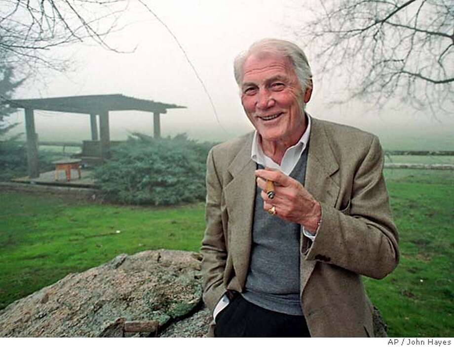 "** FILE** Actor Jack Palance poses on his ranch in Tehachapi, Calif., on a foggy afternoon, in this Jan. 27, 1997 file photo. Palance, the craggy-faced menace in ""Shane,"" ""Sudden Fear"" and other films who turned successfully to comedy at 70 with his Oscar-winning self-parody in ""City Slickers,"" died Friday. (AP Photo/John Hayes, file) Photo: JOHN HAYES"