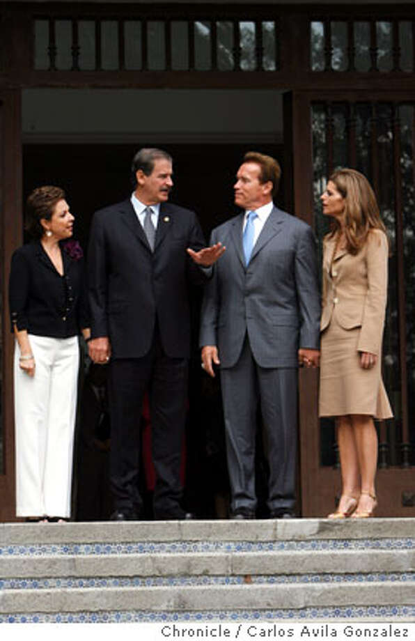 Mexico President Vicente Fox with California Governor, Arnold Schwarzenegger at Lost Pinos, the presidential residence in Mexico City on Thursday November 9, 2006. With the two are Mexico's First Lady, Martha Sahagun, and California's First Lady, Maria Shriver. Governor Arnold Schwarzenegger tours Mexico City on Thursday, November 9, 2006, on a trade summit that will include agricultural benefits to both California and Mexico. The governor will also discuss high tech applications in environmental markets in Monterrey, Mexico on Friday. The governor had breakfast with Mexico's President, Vicente Fox, and later visited a supermarket that sells many California products.  Photo by Carlos Avila Gonzalez/The San Francisco Chronicle  Photo taken on 11/9/06, in Mexico City, Distrito Federal, Mex  **All names cq (source) Photo: Carlos Avila Gonzalez