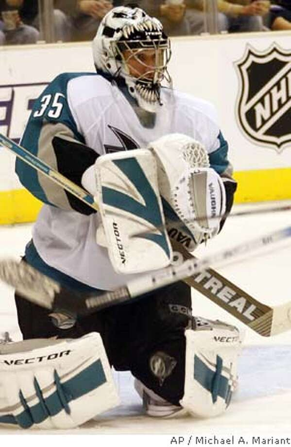 Sharks goalie Vesa Toskala makes a save, but the Sharks' offense made things easy. Associated Press photo by Michael A. Mariant