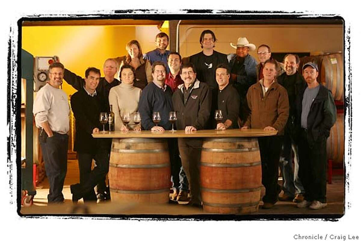 EASTBAYWINE10_228_cl.JPG Story on the East Bay Wine scene. Photo of some of the leading vintners. Photo was done at the winery of Tracey & Jared Brandt called, A Donkey and Goat. Photo of the whole bunch with Kent Rosenblum in the middle front, 5th from the left, front row. photo by Craig Lee / The Chronicle MANDATORY CREDIT FOR PHOTOG AND SF CHRONICLE/ -MAGS OUT