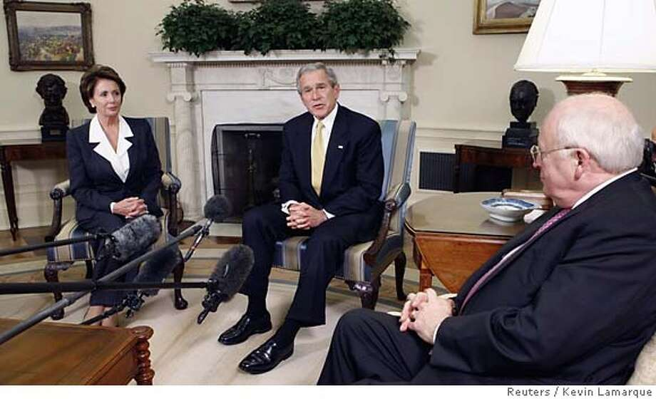 U.S. President George W. Bush meets with House Democratic leader Nancy Pelosi in the Oval Office after their lunch together at the White House in Washington November 9, 2006. At right is Vice President Dick Cheney.  REUTERS/Kevin Lamarque (UNITED STATES) 0 Photo: KEVIN LAMARQUE