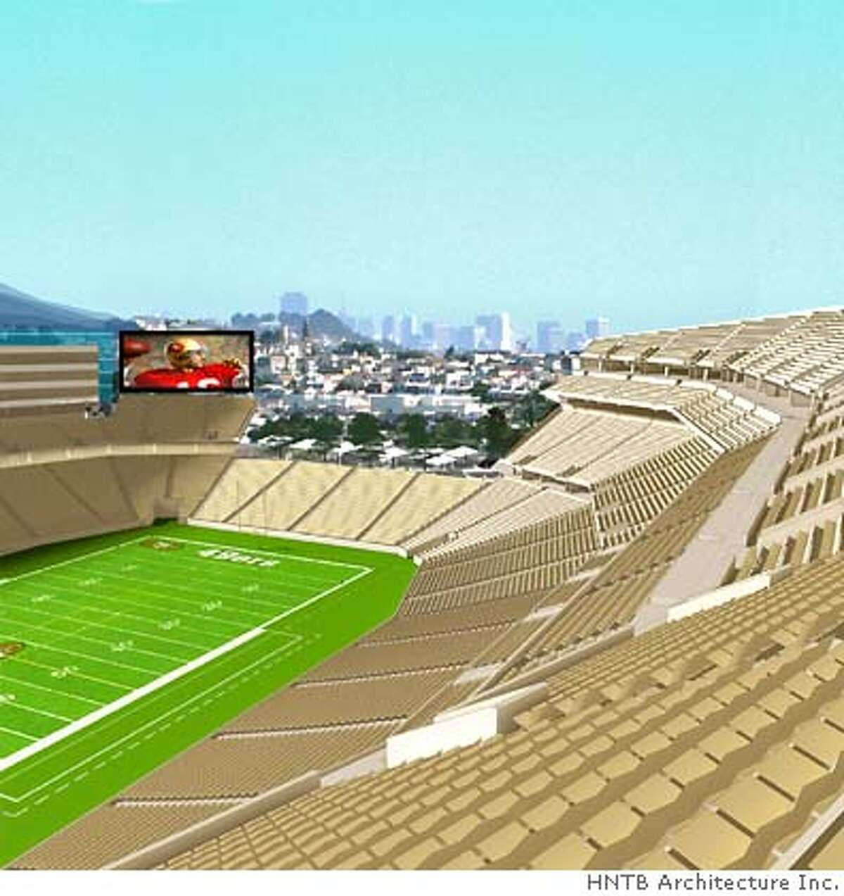 View from upper level seats of proposed new SF 49er Stadium looking north to area of the stadium that would be open to a view of the city of San Francisco. Credit: HNTB Architecture Inc.