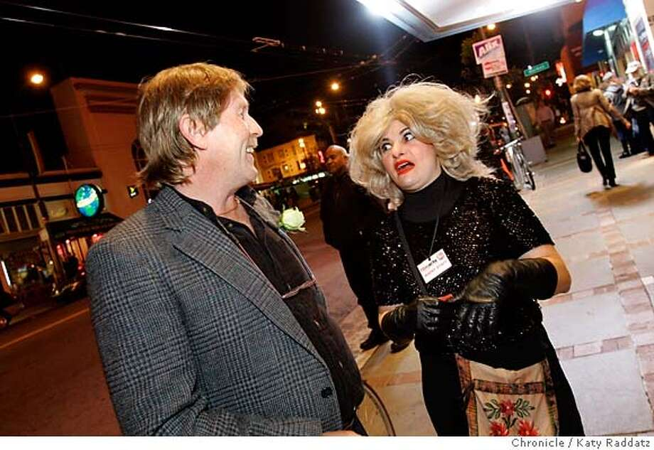 """James Wills and Dalia Vidor (playing a """"professional schmoozer""""), at the party before the festival. Chronicle photo by Katy Raddatz"""