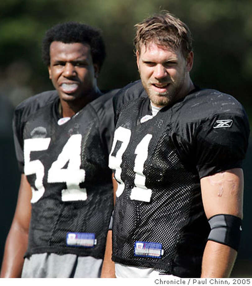 Linebacker Tyler Brayton (91) takes a break during morning practice with Sam Williams (54) at Oakland Raiders training camp on 7/30/05 in Napa, Calif.  PAUL CHINN/The Chronicle Photo: PAUL CHINN