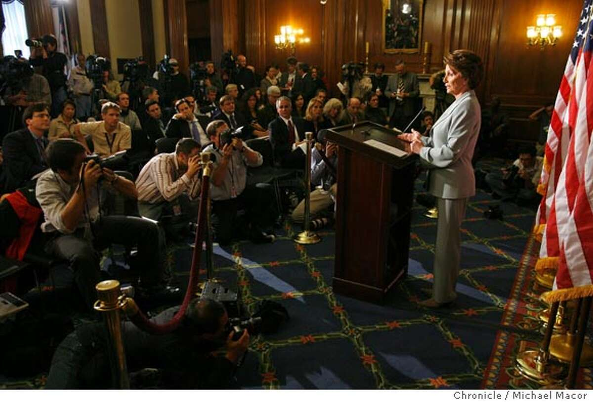 Pelosi meets with the press inside the Rayburn Room, in the US Capitol. Democratic Leader, Nancy Pelosi holds her first press conference the day after the Democrats win the majority in the House of Representatives. Event in, Washington, DC, on 11/8/06. Photo by: Michael Macor/ San Francisco Chronicle