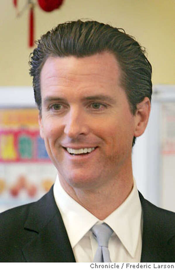 SF Mayor Gavin Newsom talks about the yesterdays election result after his visit to Alice fong Yu elementary School in the Avenues, SF. 11/8/06  {Photographed by Frederic Larson} Photo: Frederic Larson
