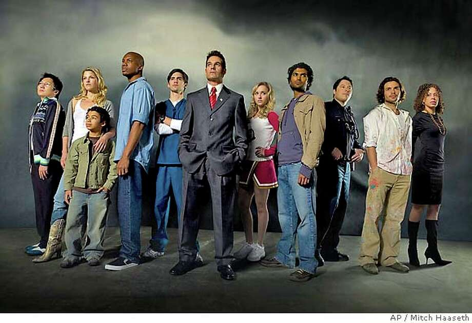 HEROES -- NBC Series -- Pilot -- Pictured: (l-r) Masi Oka as Hiro Nakamura, Ali Larter as Niki Sanders, Noah Gray-Cabey as Micah Sanders, Leonard Roberts as D.L Hawkins, Milo Ventimiglia as Peter Petrelli, Adrian Pasdar as Nathan Petrelli, Hayden Panettiere as Clair Bennet, Sendhil Ramamurthy as Mohinder Suresh, Greg Grunberg as Matt Parkman, Santiago Cabrera as Isaac Mendez, Tawny Cypress as Simone Deveraux -- NBC Photo: Mitch Haaseth FOR EDITORIAL USE ONLY -- NOT FOR SALE/DO NOT ARCHIVE