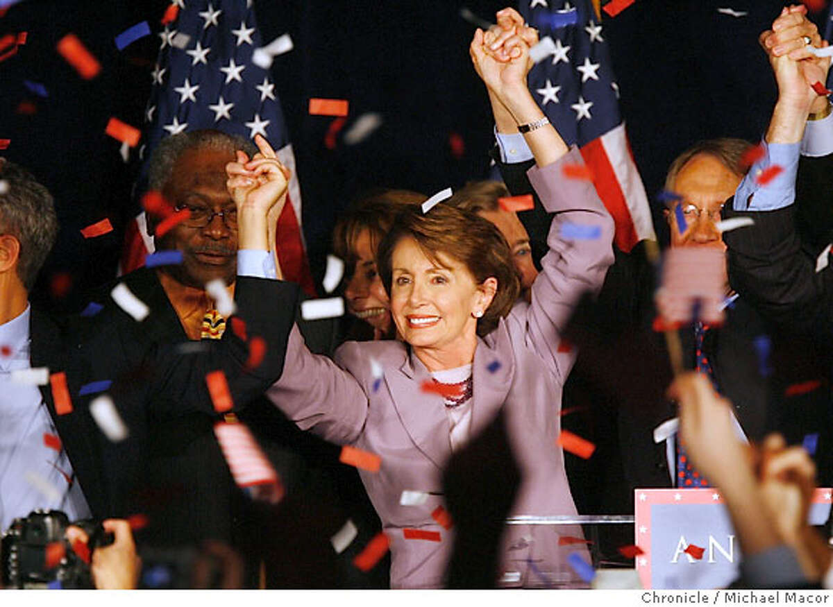 Nancy Pelosi begins the celebration. The DCCC Democratic Congressional Campaign Committee prepares for their election night watch party at the Capitol Hyatt. Event in, Washington, DC, on 11/7/06. Photo by: Michael Macor/ San Francisco Chronicle Ran on: 11-08-2006 House Minority Leader Nancy Pelosi celebrates at an election-night party in Washington, D.C.