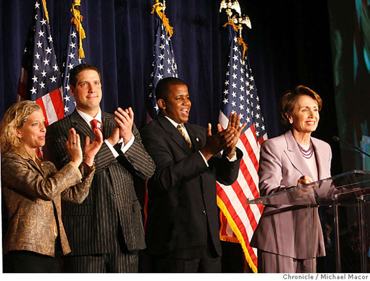 Pelosi is joined onstage by l to r- Rep. Debbie Wasserman Schultz,(FL.), Rep. Tim Ryan, (OH.) and Rep. Kendrick Meek, (FL.) Democratic Leader Nancy Pelosi welcomes the audience.The DCCC Democratic Congressional Campaign Committee hosts an election night watch party at the Capitol Hyatt. Event in, Washington, DC, on 11/7/06. Photo by: Michael Macor/ San Francisco Chronicle