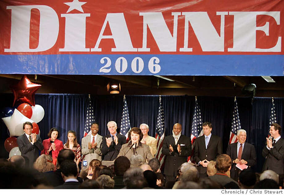 Dianne Feinstein is applauded on the stage. Leading Democrats, including Dianne Feinstein, Jerry Brown, Barbara Boxer and Bill Lockyer attend a Democratic Party election night rally at Delancey St. Restaurant, Town Hall Rm., 600 Embarcadero, San Francisco. Chris Stewart / The Chronicle Photo: Chris Stewart