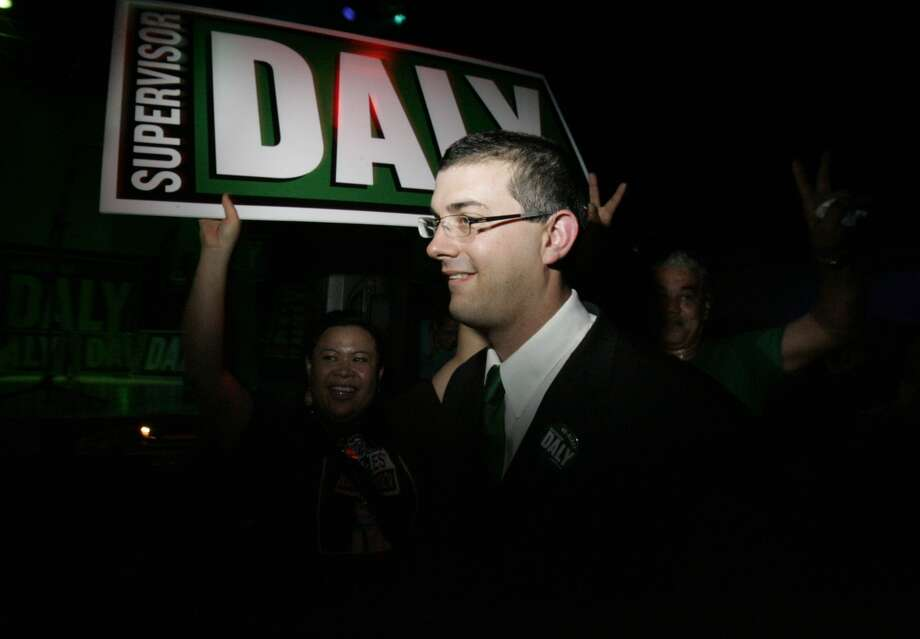 Chris Daly, incumbent Supervisor in District 6, greets supporters at his election night party at DNA Lounge in San Francisco, CA. Photo: Laura Morton