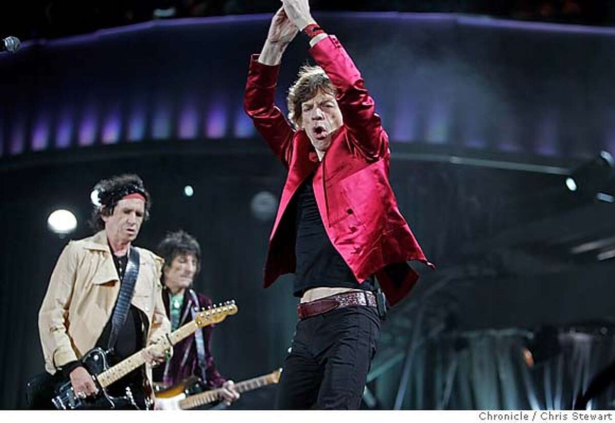 The Rolling Stones Mick Jagger (center) joined mates Keith Richards (left), Ron Wood and Charlie Watts (not pictured), as they play