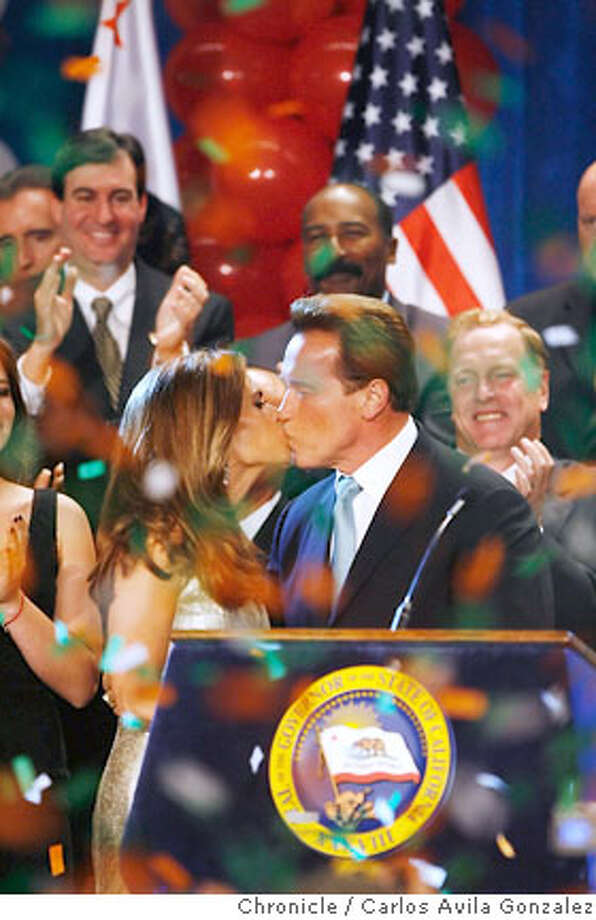 Governor Arnold Schwarzenegger's kisses his wife, Maria Shriver as he prepares to give his election victory speech at the Beverly Hilton in Beverly Hills, Ca., on Tuesday, November 7, 2006.  Photo by Carlos Avila Gonzalez/The San Francisco Chronicle  Photo taken on 11/7/06, in Long Beach, Ca, USA  **All names cq (source) Photo: Carlos Avila Gonzalez